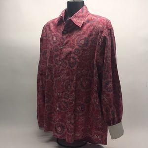 Red Label Hilfiger Men Denim Paisley Shirt Sz XL